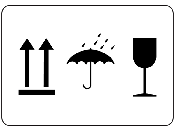 This way up, keep dry, fragile packaging symbol label