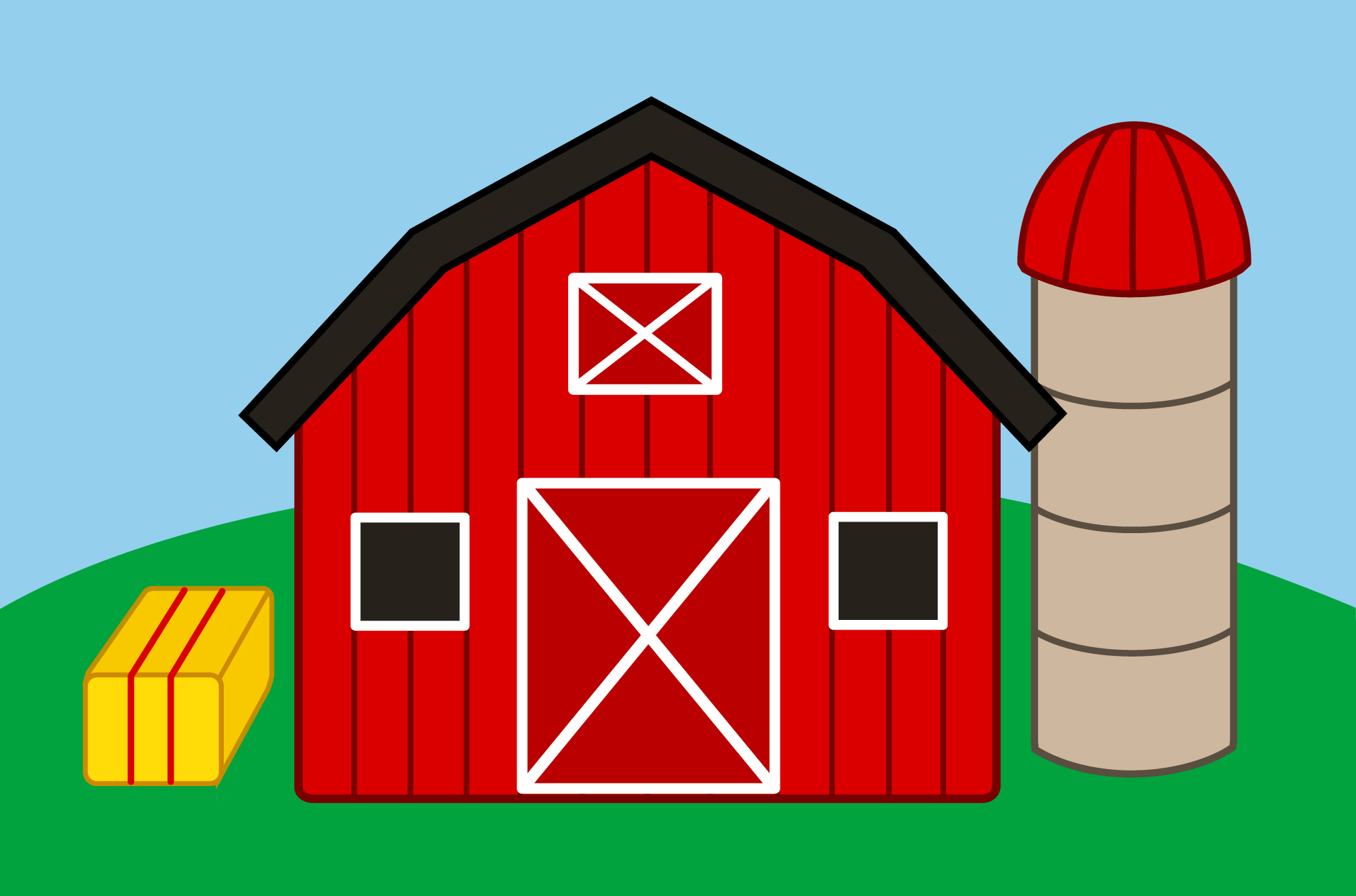 hight resolution of cute farm with barn and silo free clip art