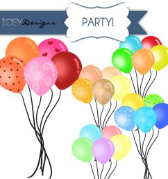 digital scrapbooking party balloons clipart by iceydesigns on etsy [ 1000 x 1000 Pixel ]