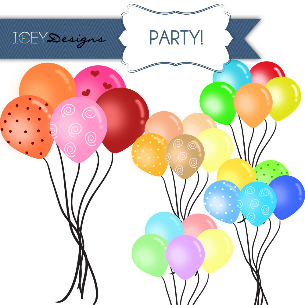 hight resolution of digital scrapbooking party balloons clipart by iceydesigns on etsy