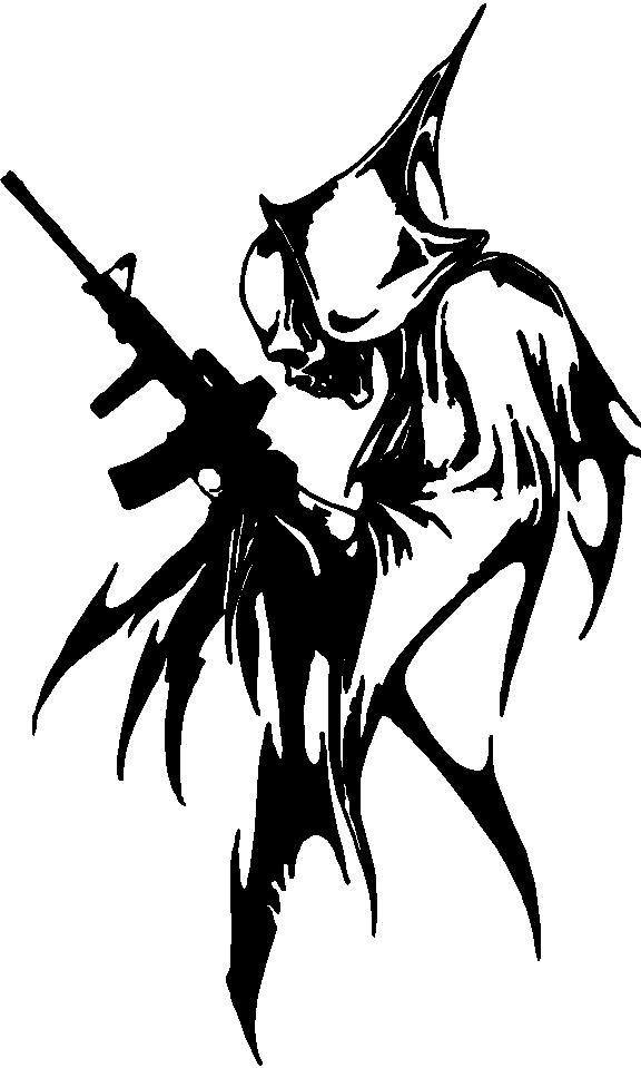 Skull Decals :: Reaper with Machine Gun Decal / Sticker