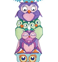 owl totem pole owls clipart library [ 736 x 1182 Pixel ]