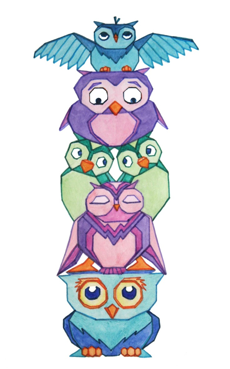hight resolution of owl totem pole owls clipart library