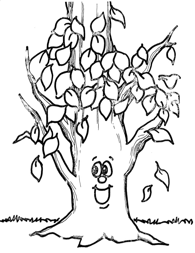 leaves on tree colouring pages
