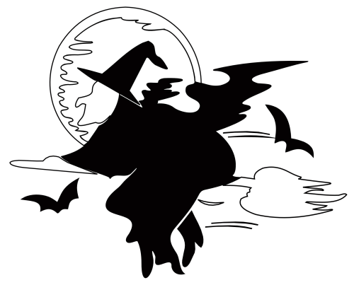 small resolution of lakeside witch over harvest moon halloween black white line art