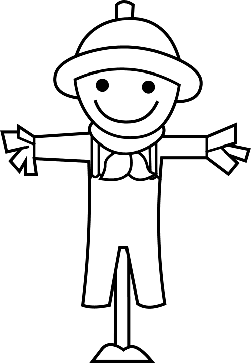 small resolution of cute little scarecrow line art free clip art