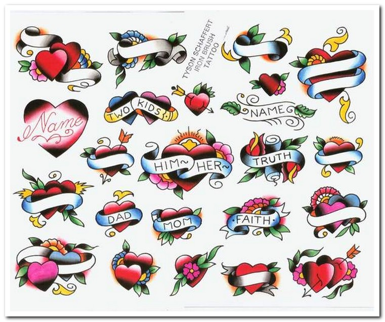 Double Heart With Banner Tattoo Designs
