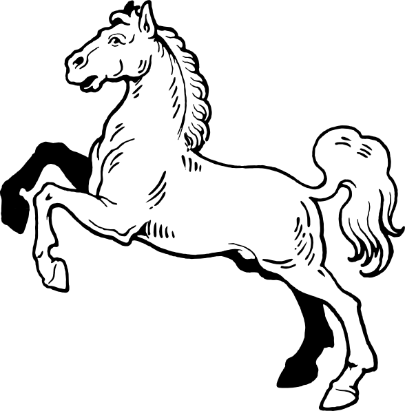 Free Cartoon Black And White Horse, Download Free Clip Art