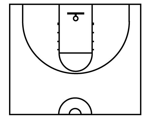 photograph relating to Basketball Court Diagram Printable called Printable Envision Of A Basketball Courtroom