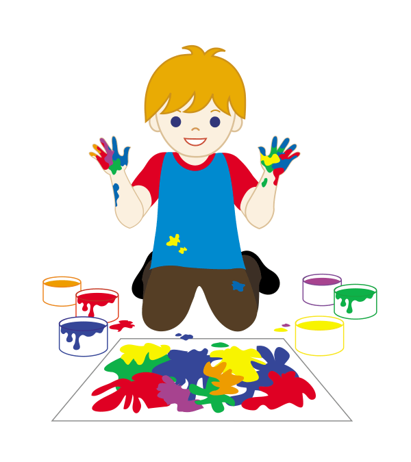 Kid Painting With Fingerpaints - Free Clip Art