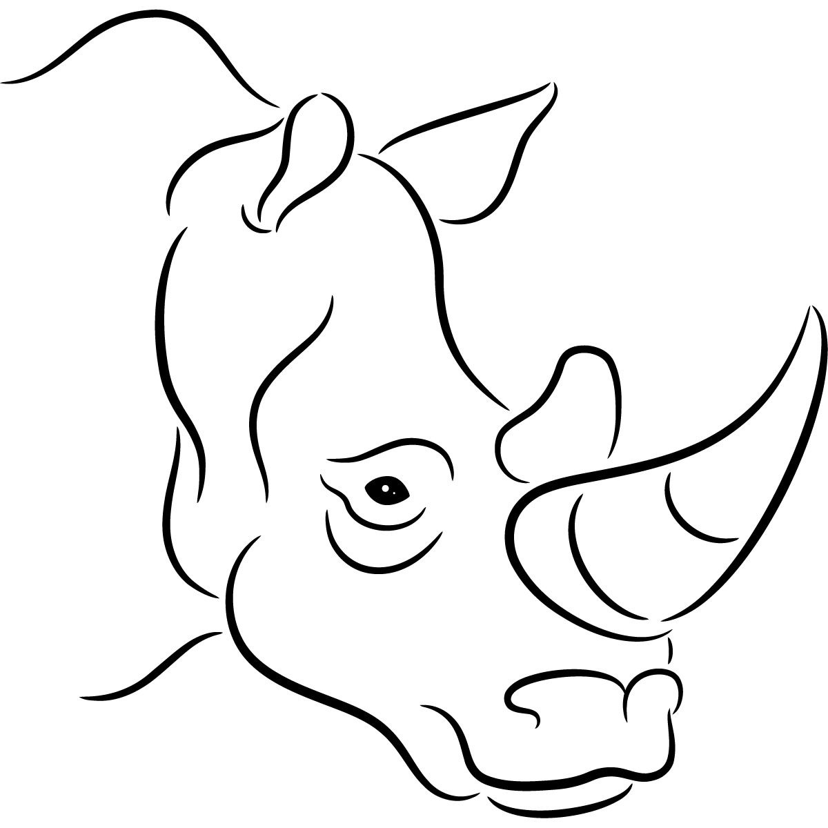 hight resolution of outline of rhino clipart library