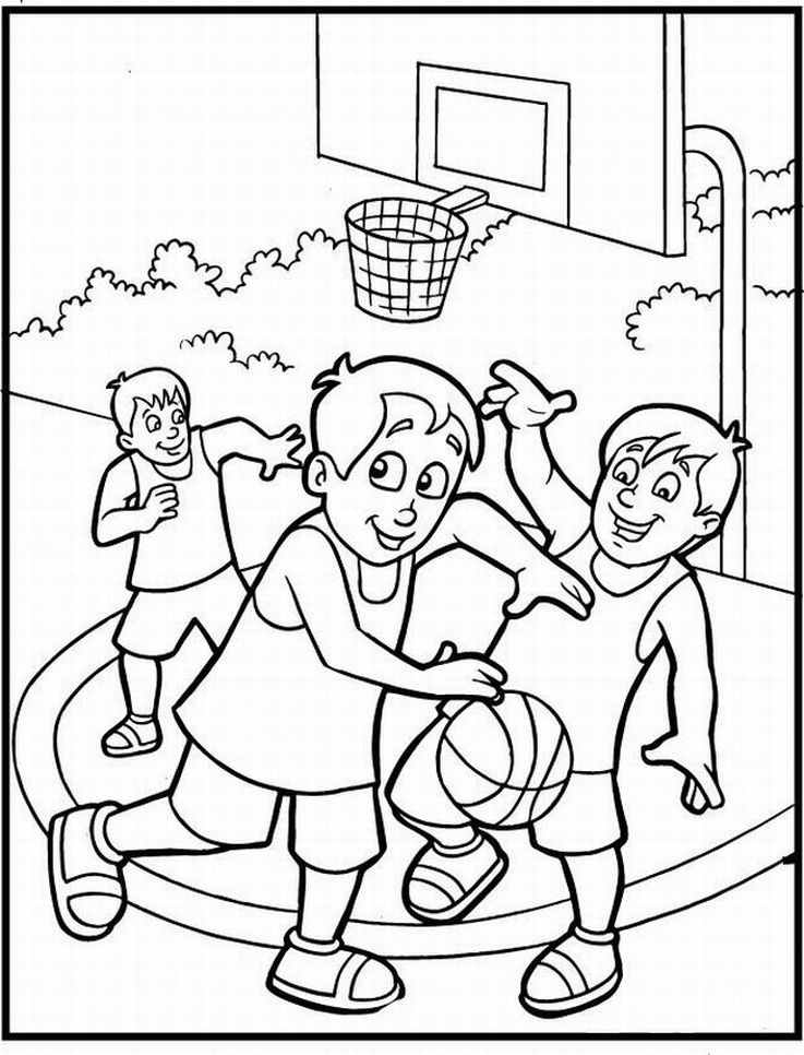 Basketball Coloring Page Pages Kids Crafts Pinterest 2014