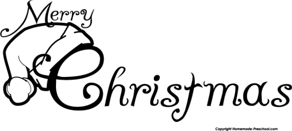 merry christmas clip art black