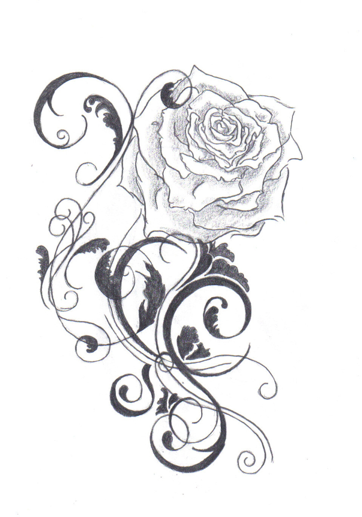 Rose Design Drawing : design, drawing, Drawing, Rose,, Download, Clipart, Library
