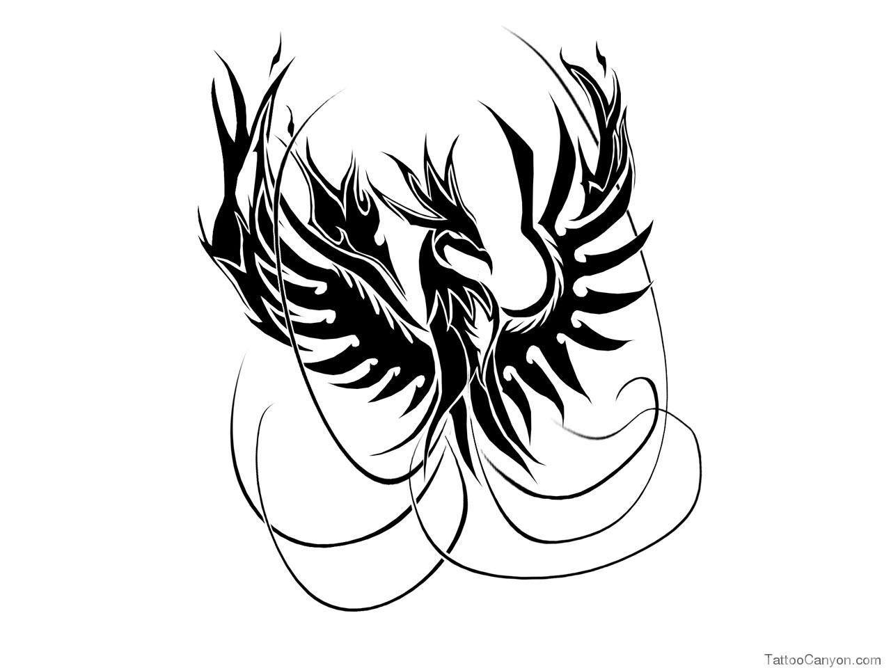 Fine Line Phoenix Tattoo