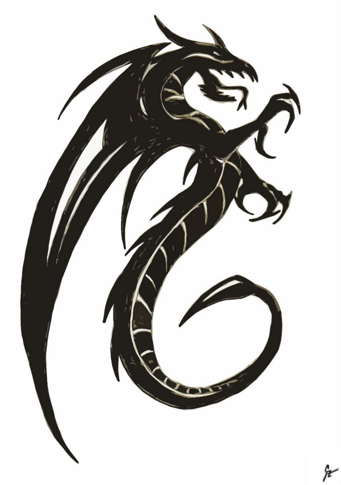Dragon Clipart Black And White : dragon, clipart, black, white, Dragon, Images, Black, White,, Download, Clipart, Library
