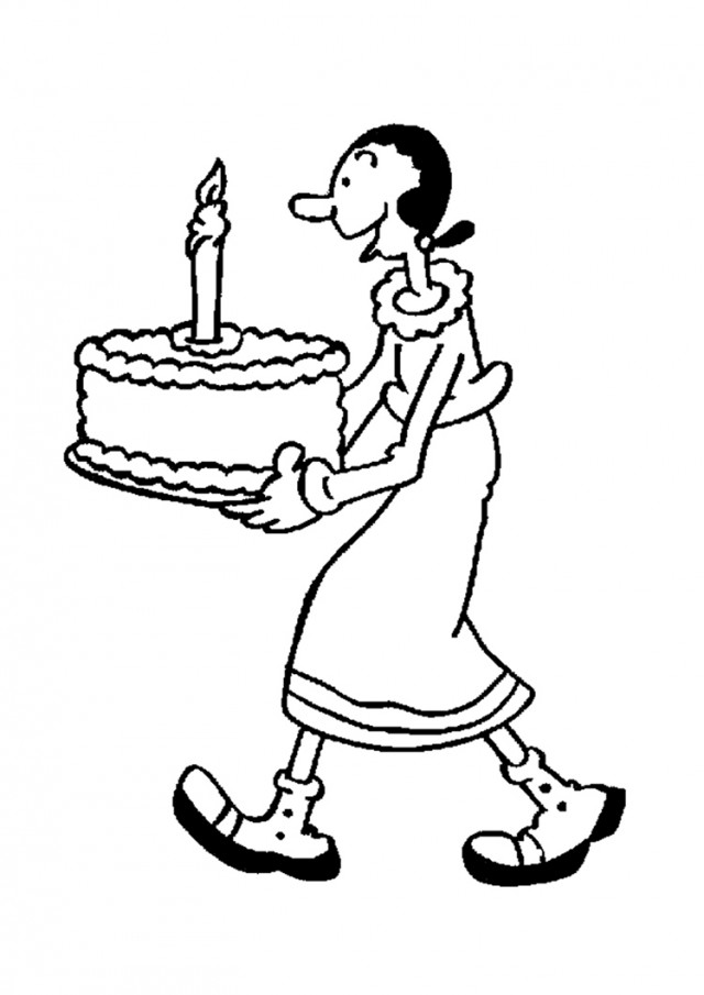 POPEYE THE SAILOR Coloring Pages Olive Oyl With Birthday Cake