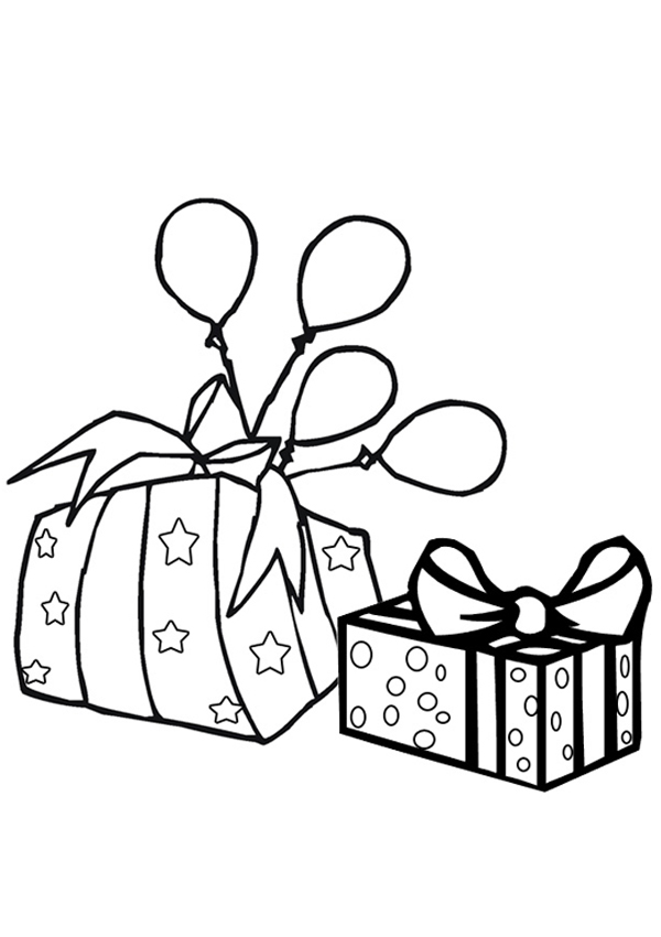 Free Online Birthday Gift Colouring Page