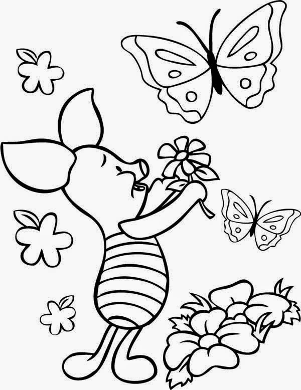 Sketsa Kupu Kupu : sketsa, Flower, Butterfly, Coloring, Pages, Library