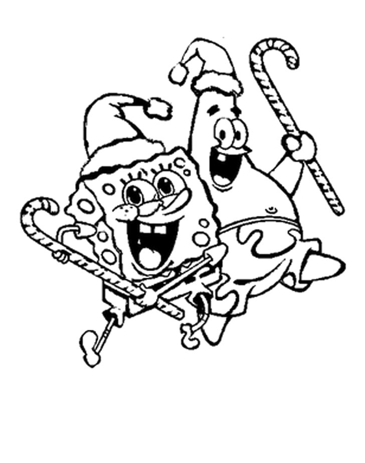 Spongebob High Jump With Delight Christmas Coloring Pages