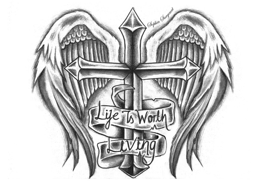 Cross With Angel Wings Tattoo Designs Clip Art Library