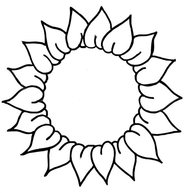 free sunflower line art