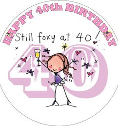 happy 40th birthday female edible cake topper [ 1000 x 1000 Pixel ]