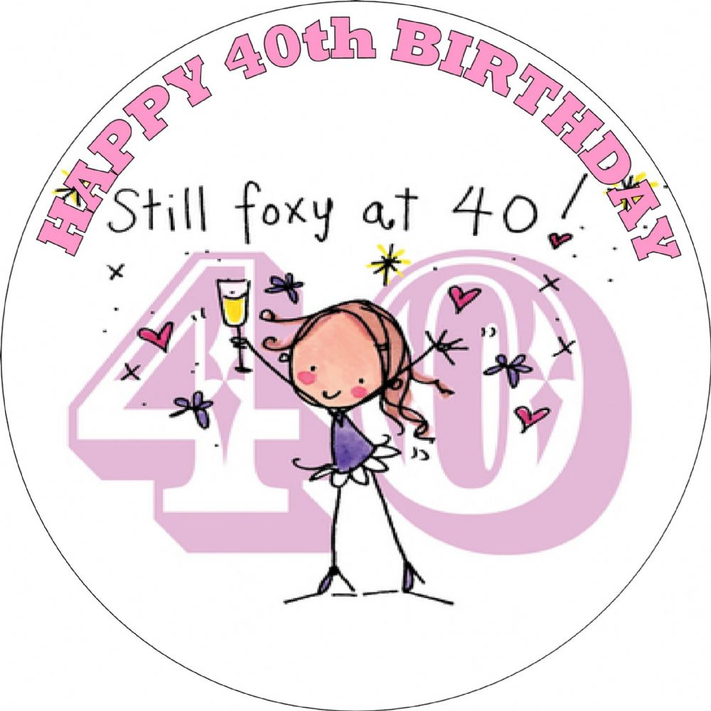 hight resolution of happy 40th birthday female edible cake topper