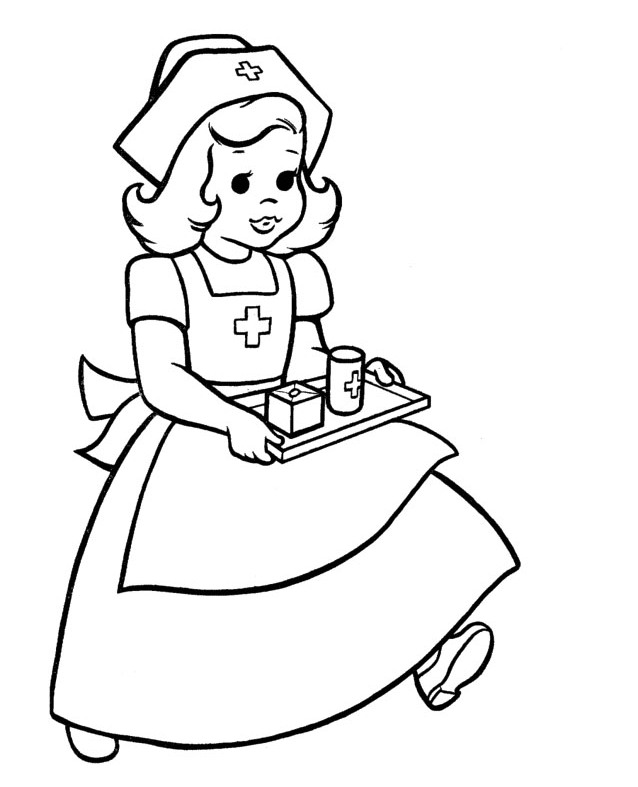 Doctor Day Coloring Pages : Nurses Bring Drug Equipment