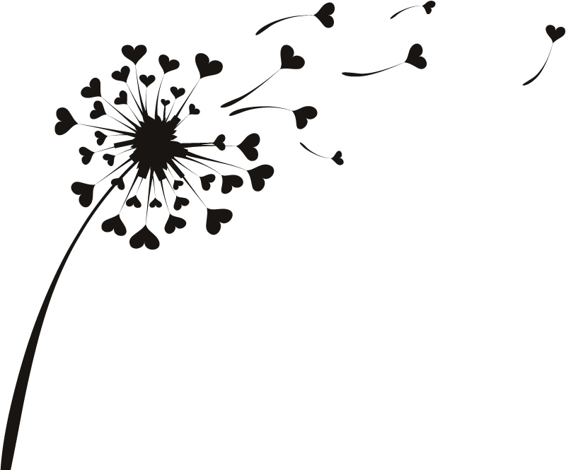 Love Heart Dandelion Flowers Wall Stickers Wall Art Decal