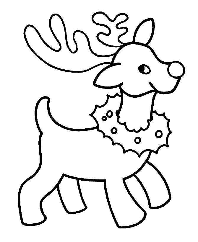 Download Cute Small Reindeer With A Christmas Wreath