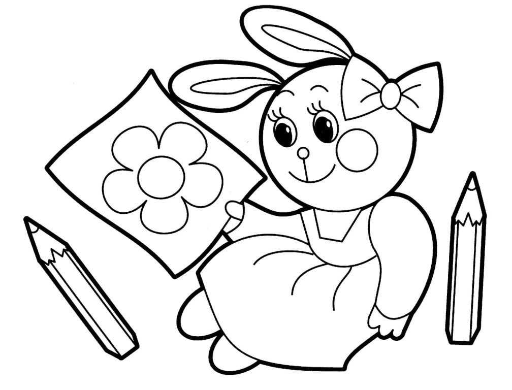 Funny Rabbit Animals coloring pages for babies