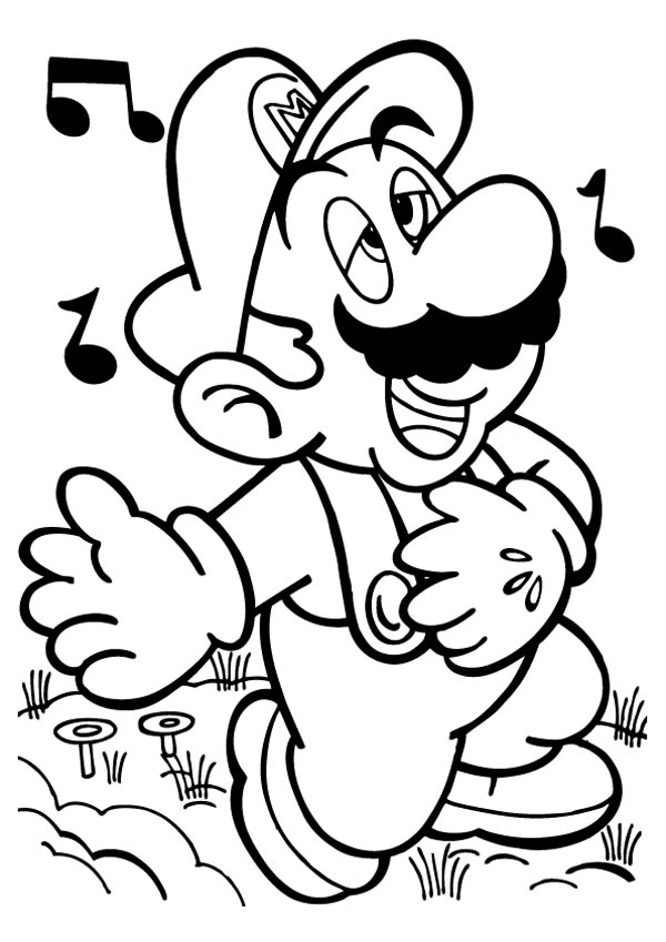 Mario Singing Melancoly in Mario Brothers Coloring Page