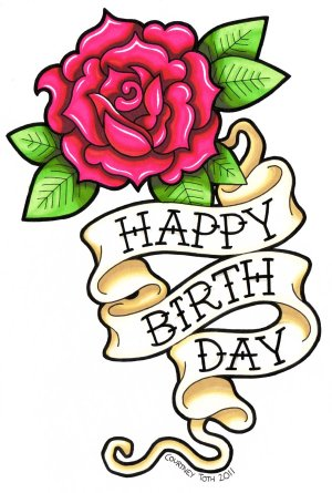 birthday drawing card rose happy drawings flower cards wishes clipart tattoo birthdays stuff petey metal pink easy clip library deviantart