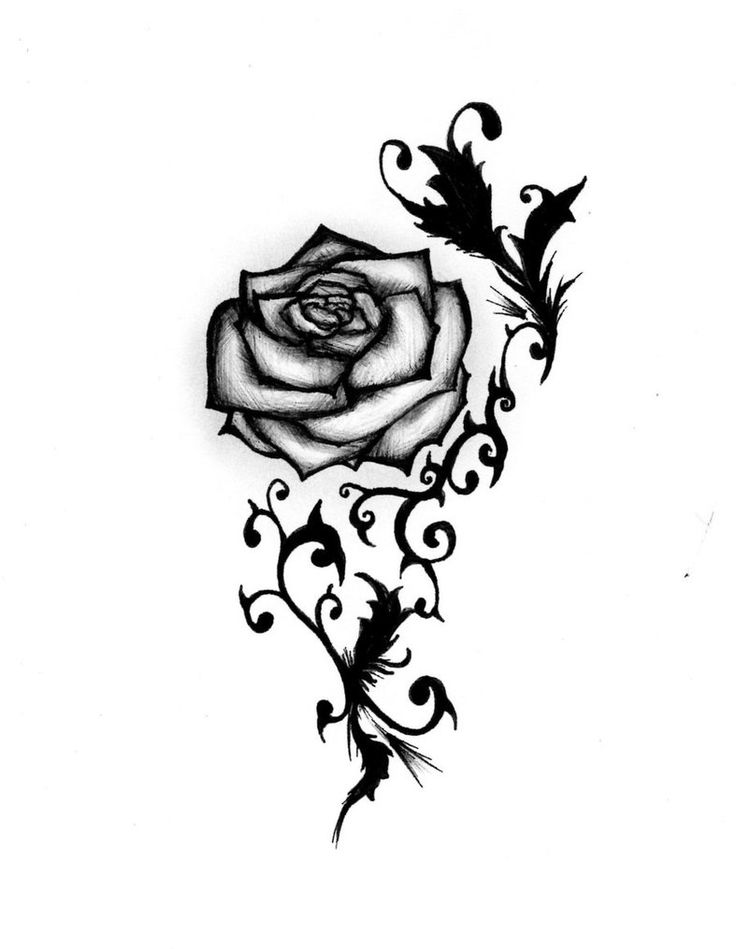 Traditional Black Rose Tattoo Flash