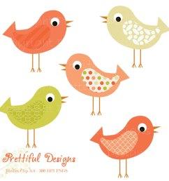 bird clip art pink and green pattern bird by prettifuldesigns [ 1000 x 1000 Pixel ]