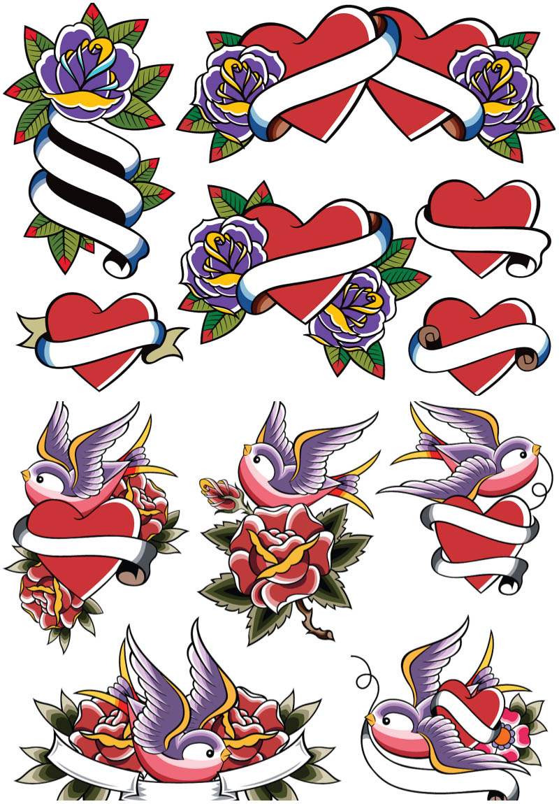 Heart Banner Tattoo : heart, banner, tattoo, Heart, Banner, Tattoos,, Download, Clipart, Library