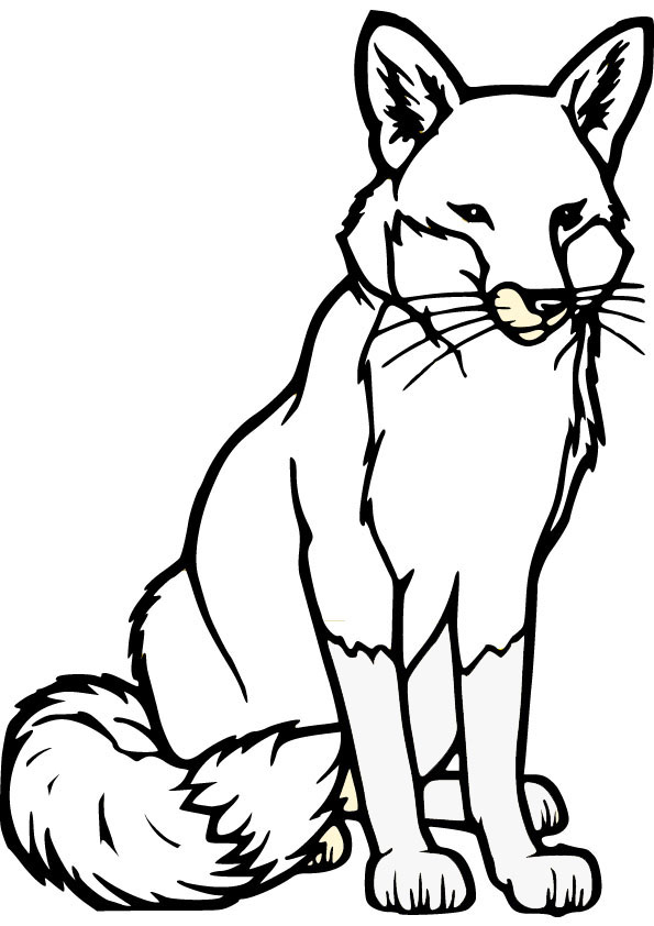 Download free fox coloring page