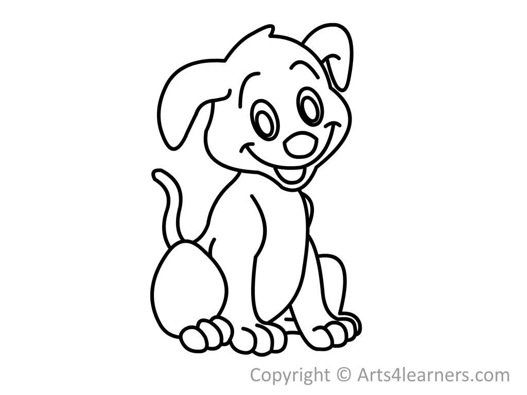 Free How To Draw A Dog In Black Out Line, Download Free