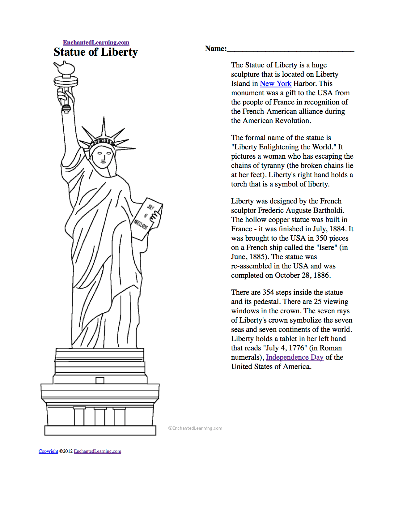 Free Coloring Book Page Of Statue Of Liberty Download