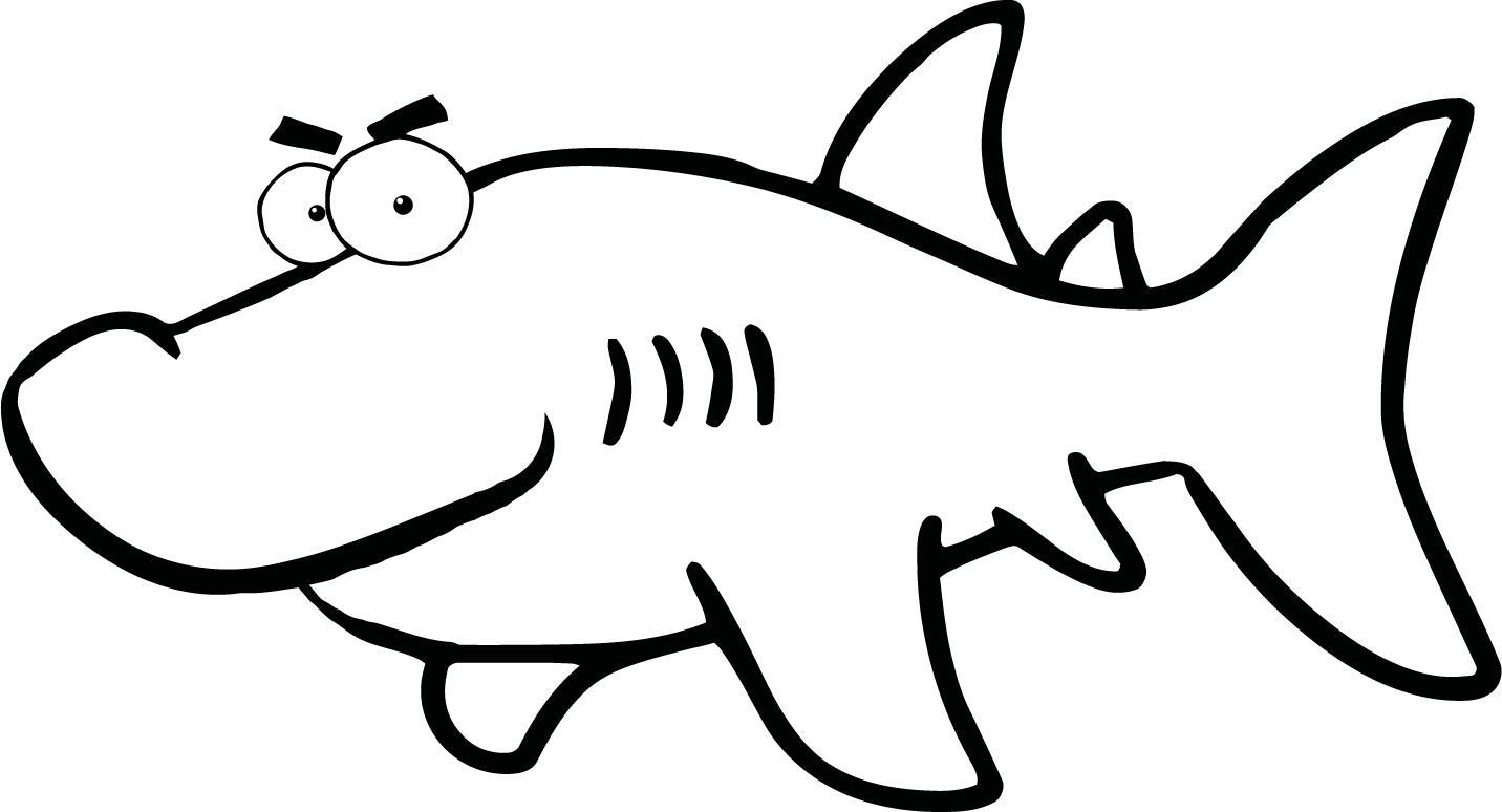 Shark Cartoon Black And White