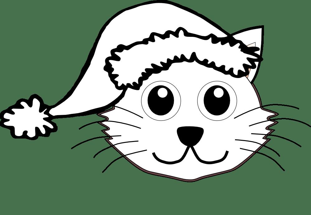 Cat 1 face with Santa Hat Black White Line Art Christmas Xmas