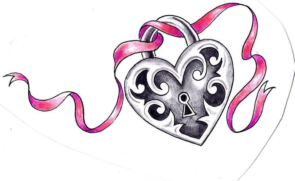 Drawing Key And Heart Banner
