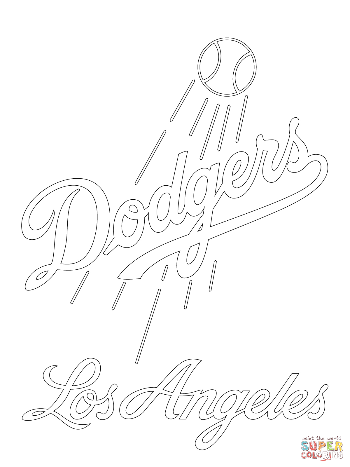 Los Angeles Dodgers Logo Coloring Page Free Printable Coloring