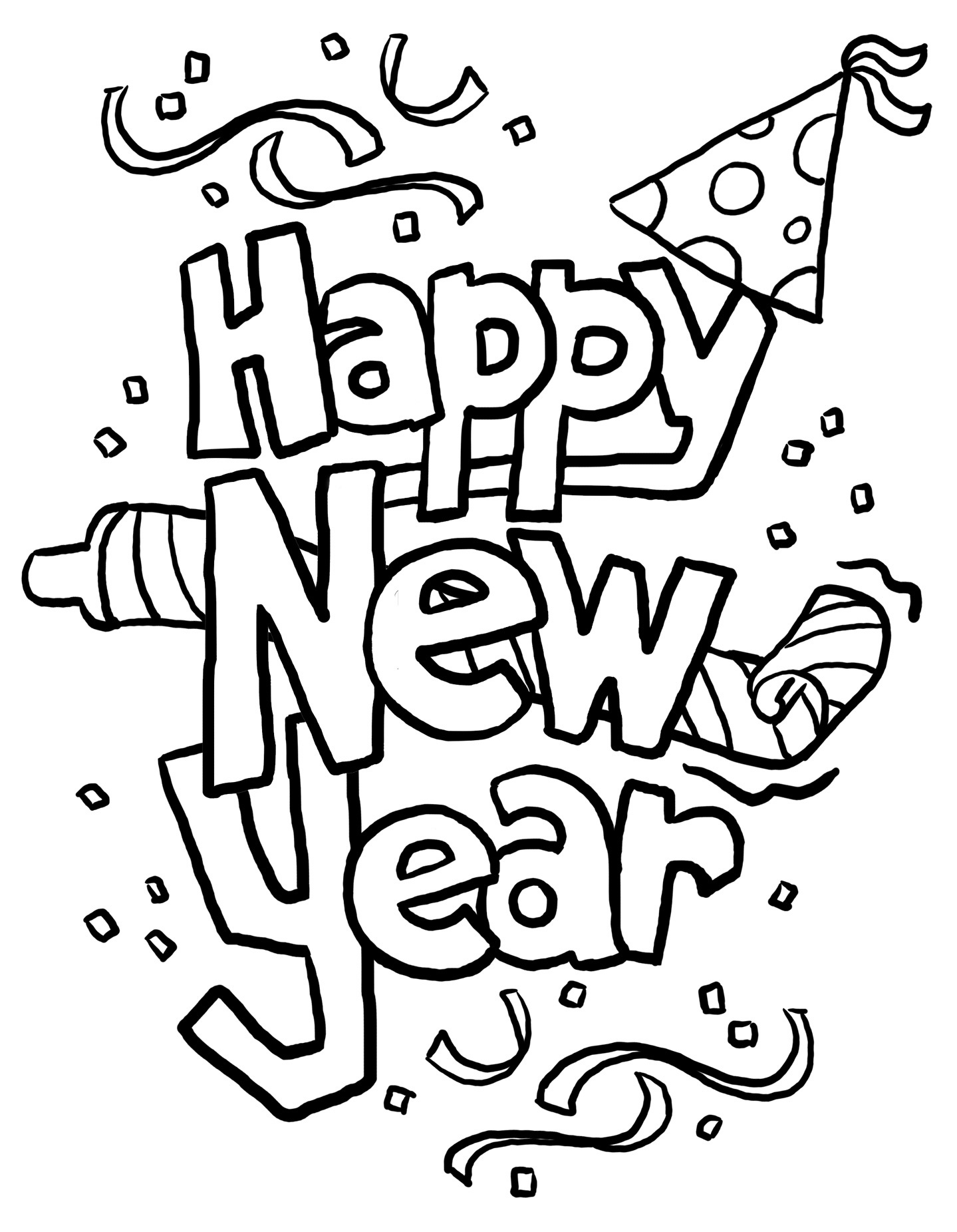 Free Happy New Year Black And White Clipart Download Free