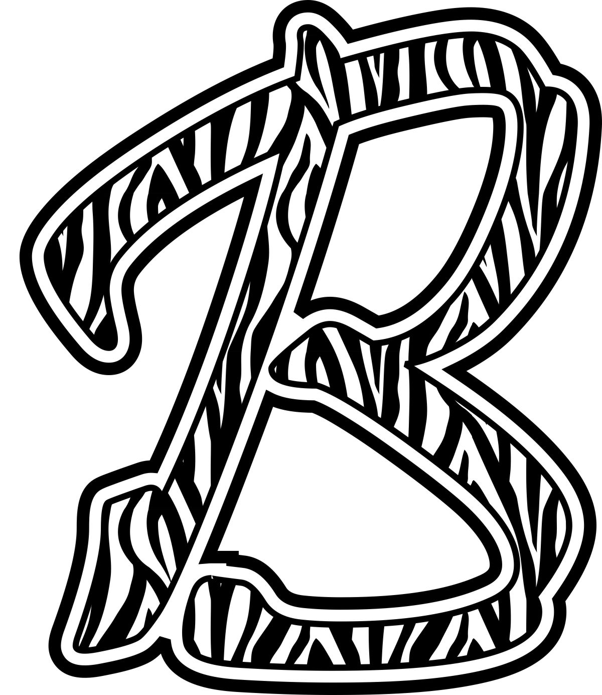 Letter U Zebra Print Colouring Pages