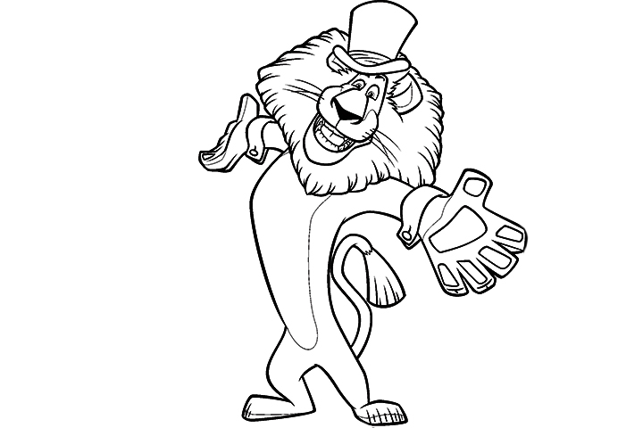 alex lion Colouring Pages