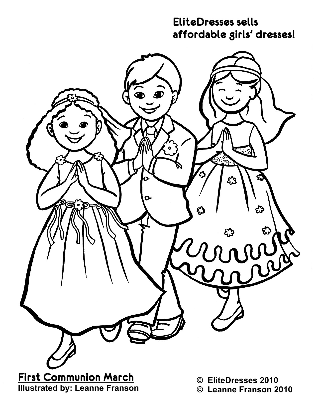 First Communion Dress Coloring Pages