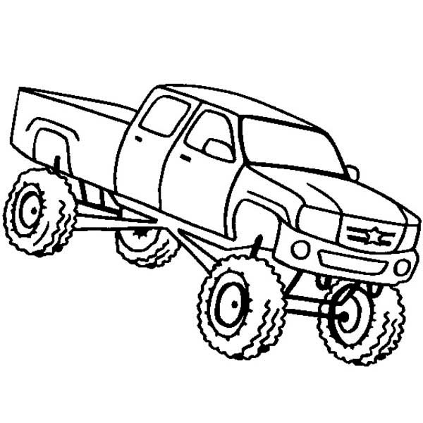 Monster Truck Higher Education School Bus Coloring Page