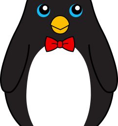 cute black penguin with red bow tie free clip art [ 4583 x 6978 Pixel ]